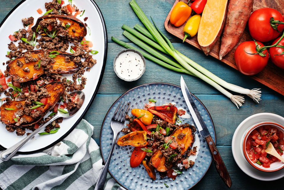 Spiced Beef over Sweet Potatoes
