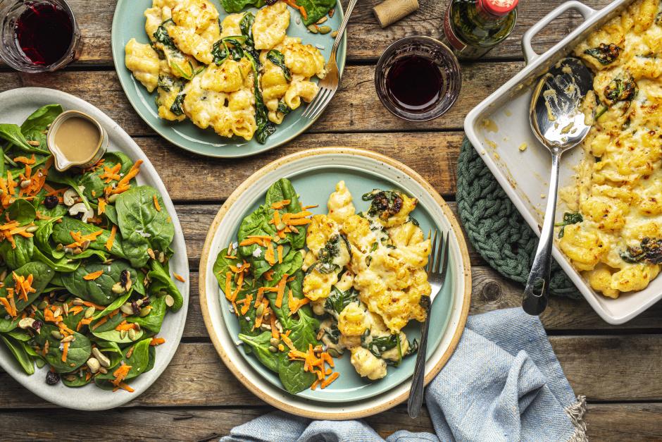 Fresh Conchiglie with Cheddar & Leafy Greens