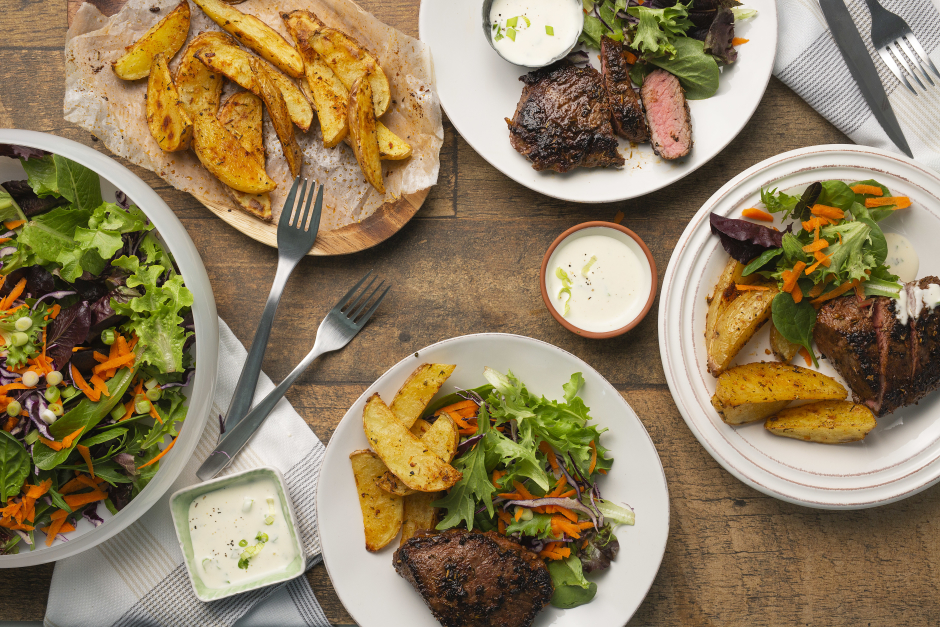 Spice-Rubbed Steaks with Scallion 'Hollandaise' Sauce