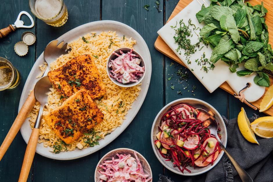 Indian-Style Seared Salmon & Beet Raita