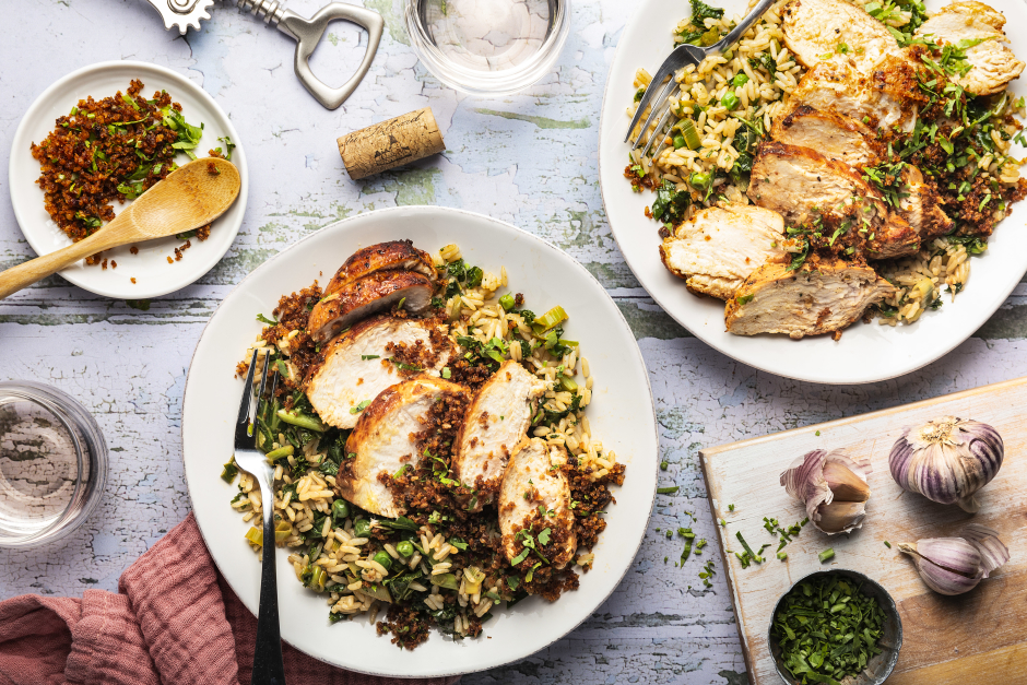 Seared Chicken with Caramelized Leek Pilaf