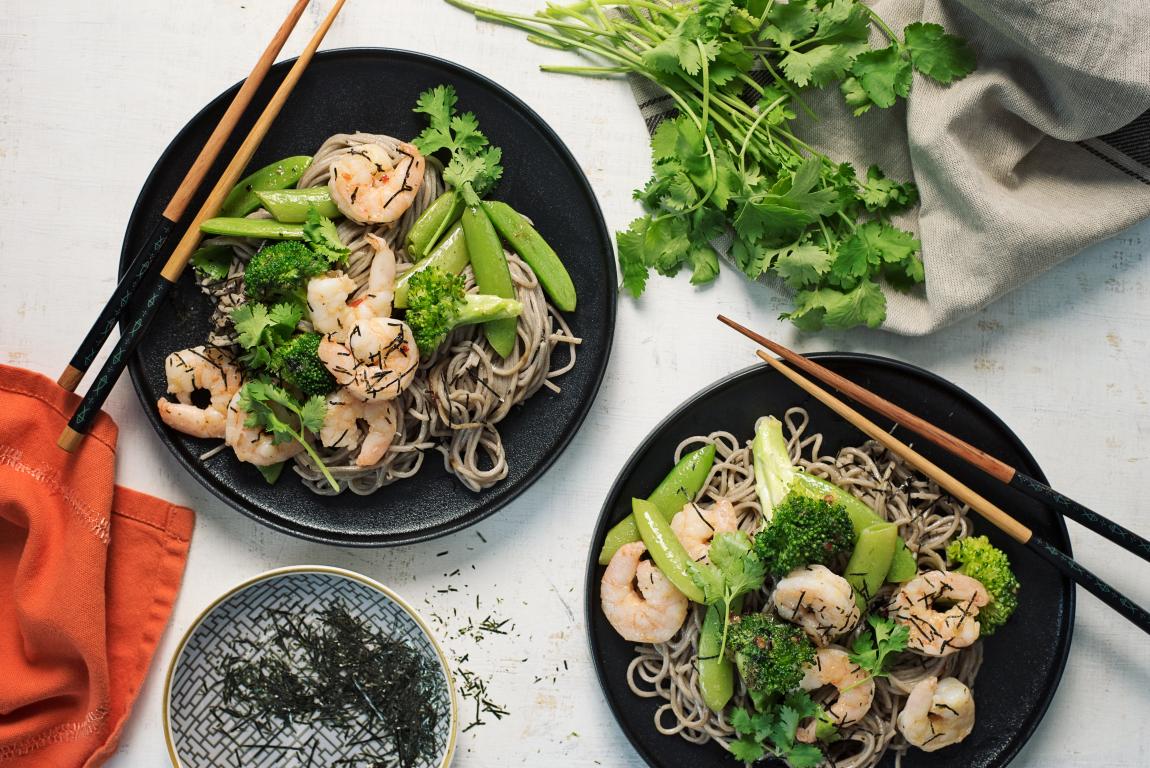Chili-Glazed Shrimp with Soba Noodles