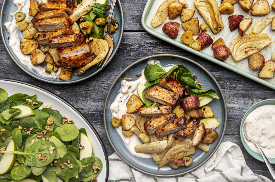Spiced Pork Chops with Roasted Fennel & Baby Potatoes