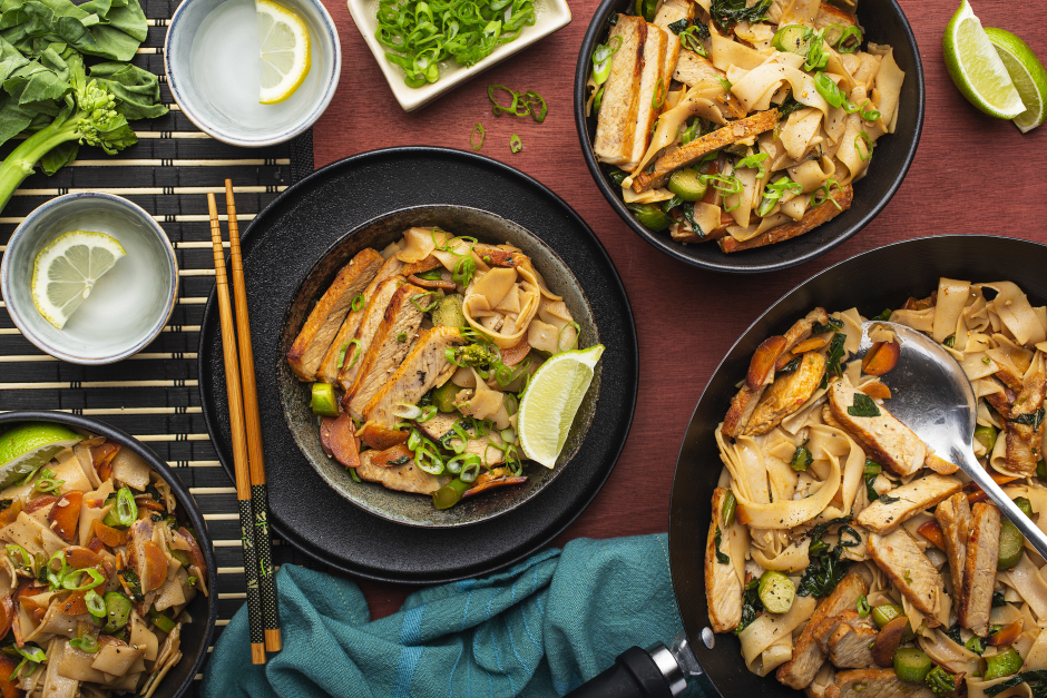 Thai-Style Pork Chops over Drunken Noodles