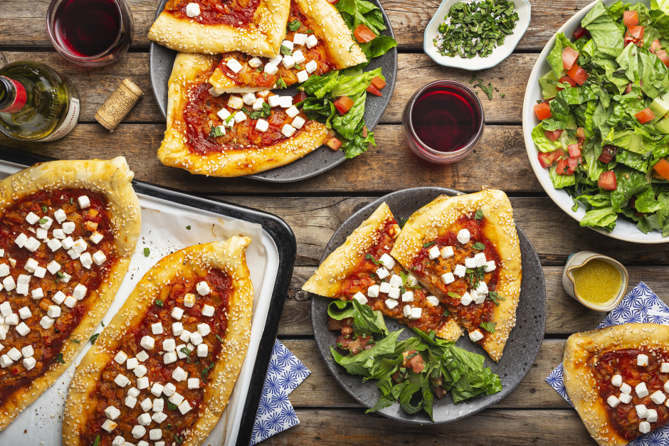 Turkish-Style Pide with Feta Cheese