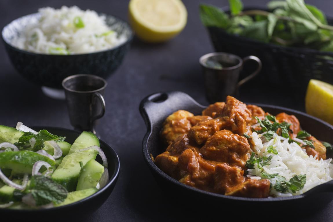 Chicken tikka masala with cucumber salad basmati rice forumfinder Image collections