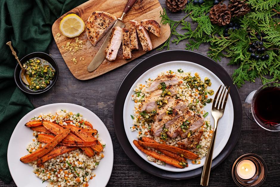 Seared Pork Chops with Pistachio-Parsley Gremolata