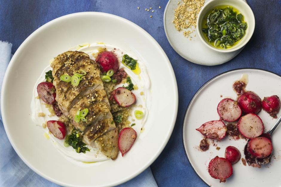 Mediterranean Chicken Breasts with Warm Sumac-Radish Salad
