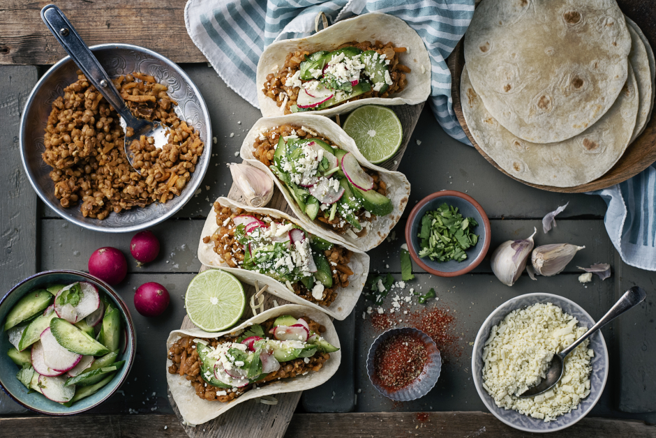 Spicy Lentil Barbacoa Tacos with Cotija Cheese