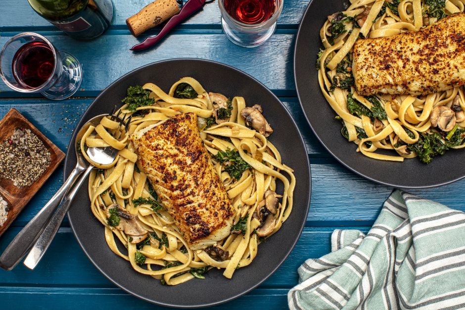 Seared Cod over Fresh Fettuccine