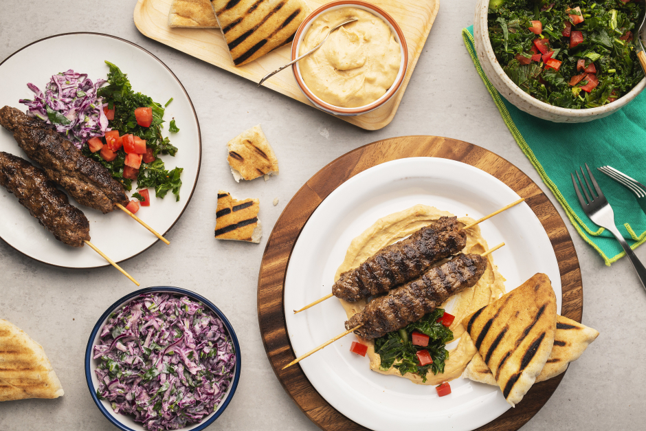 Beef Kefta Kebabs with Sweet Pepper Hummus