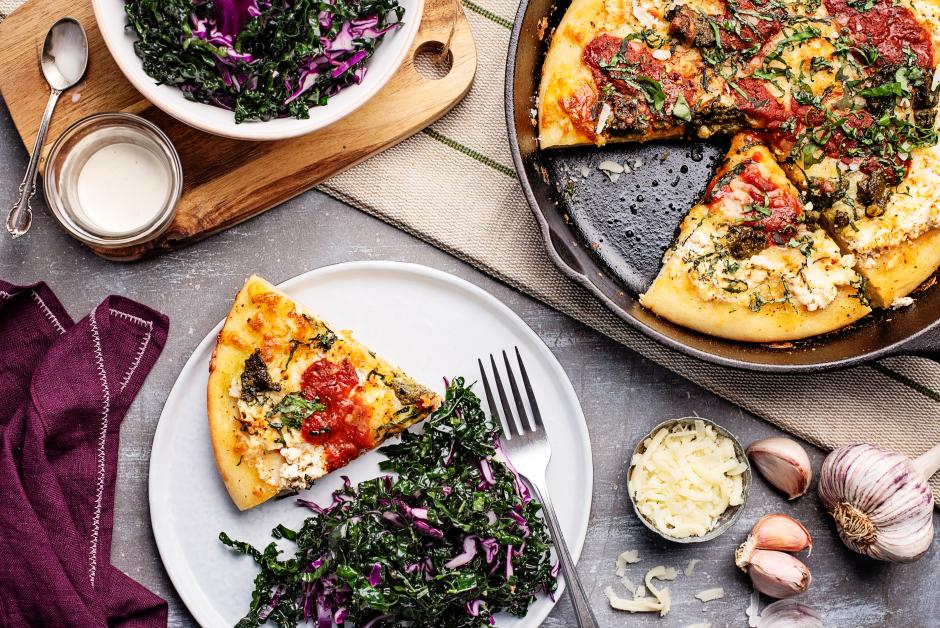 Deep Dish Skillet Pizza with Ricotta & Pesto