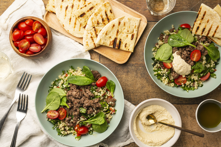 Lebanese-Spiced Ground Beef & Tabbouleh Bowls