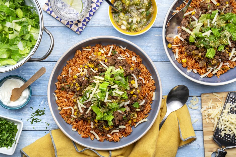 Chili-Spiced Ground Beef & Corn Burrito Bowls