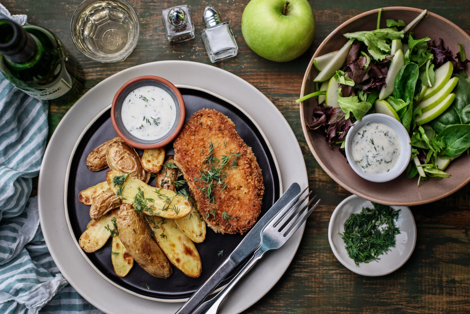 Crispy Pork Cutlets with Homemade Ranch Dressing