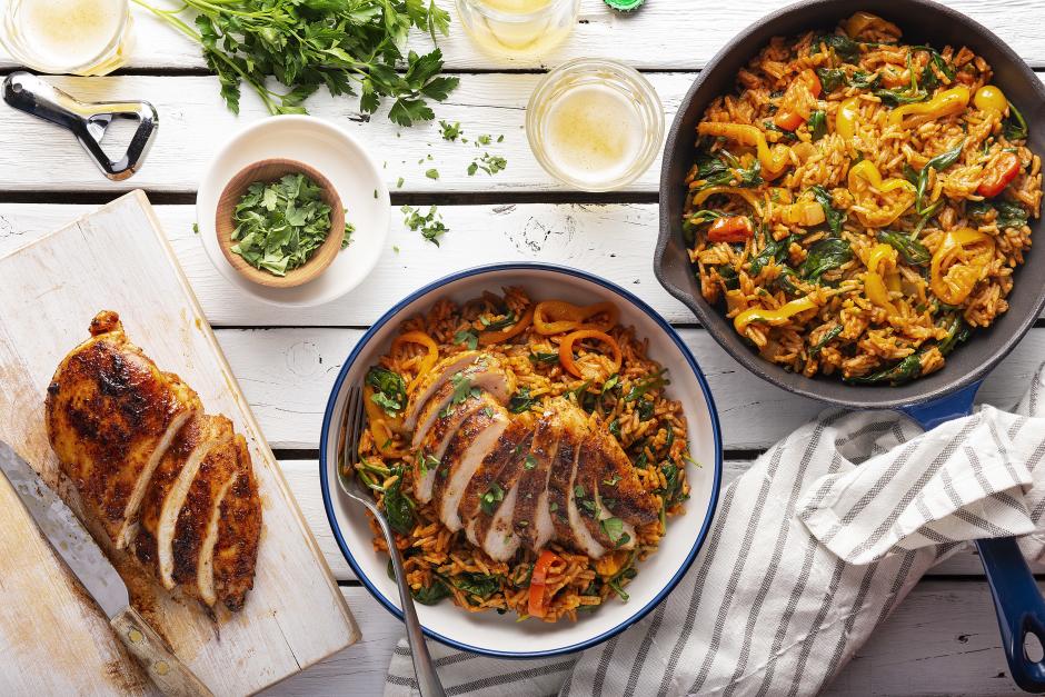 Spice-Rubbed Chicken Jambalaya Bowls