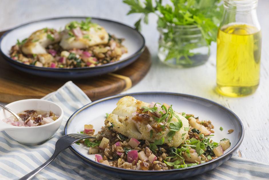 Haddock & Spinach-Farro Salad