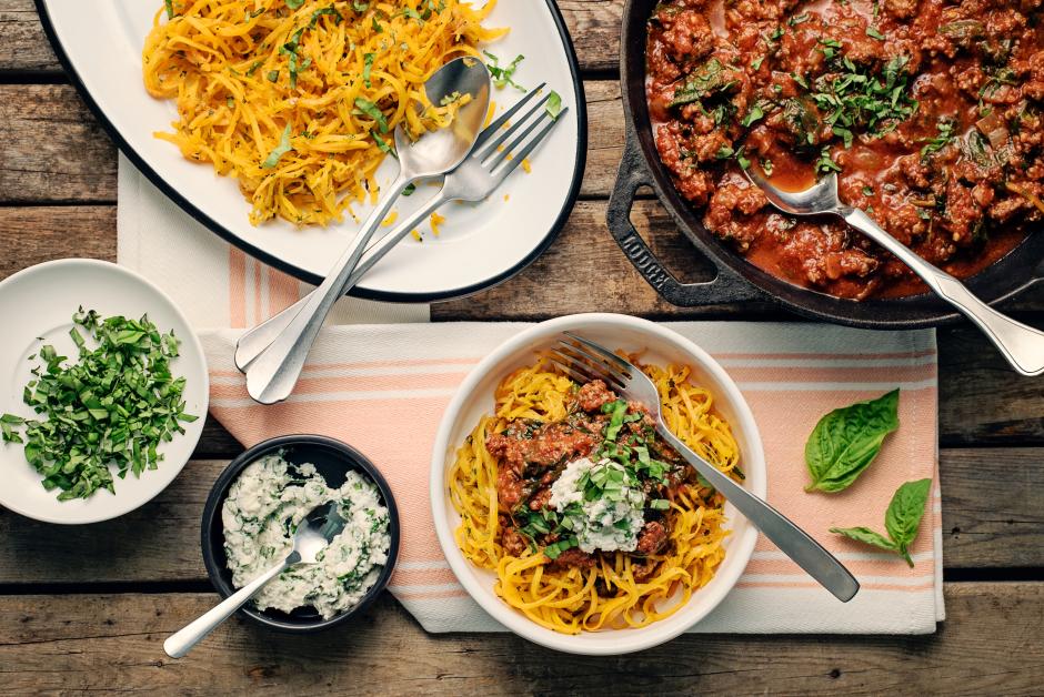 Quick Beef Bolognese over Squash 'Spaghettini'