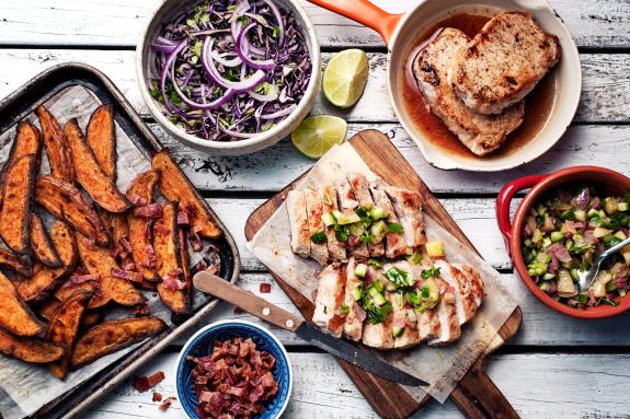 Pork Chops with Seared Pineapple Salsa