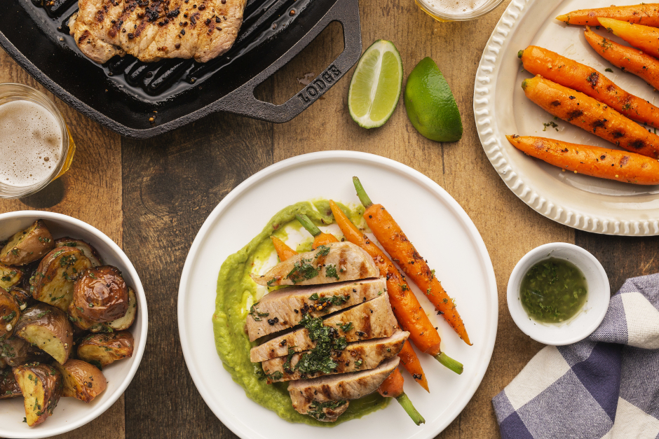 Summer Pork Chops with Grilled Carrots