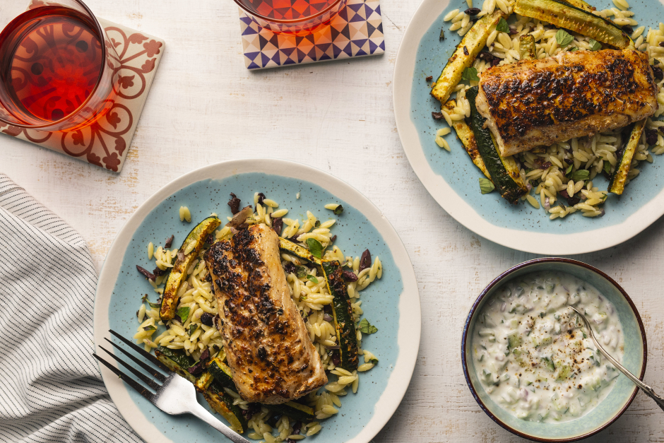 Greek Haddock with Toasted Orzo Pilaf