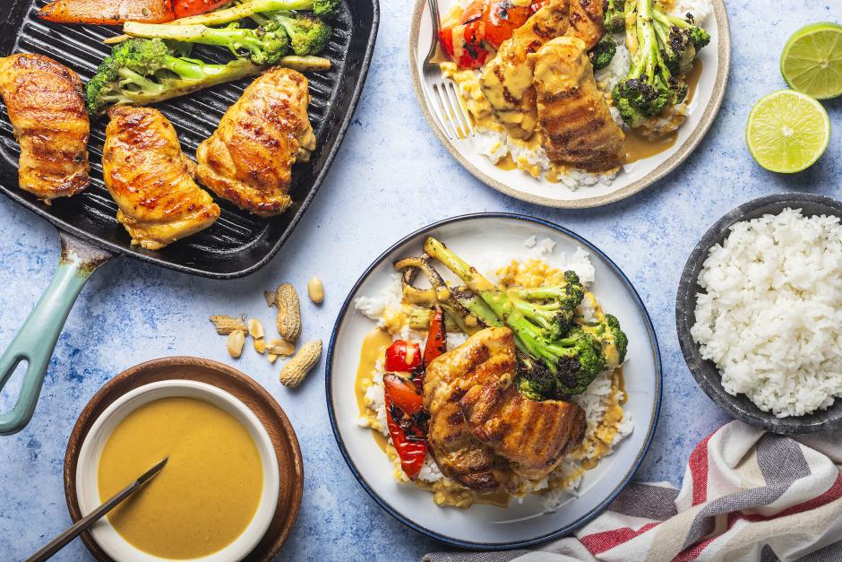 BBQ Chicken Satay over Jasmine Rice