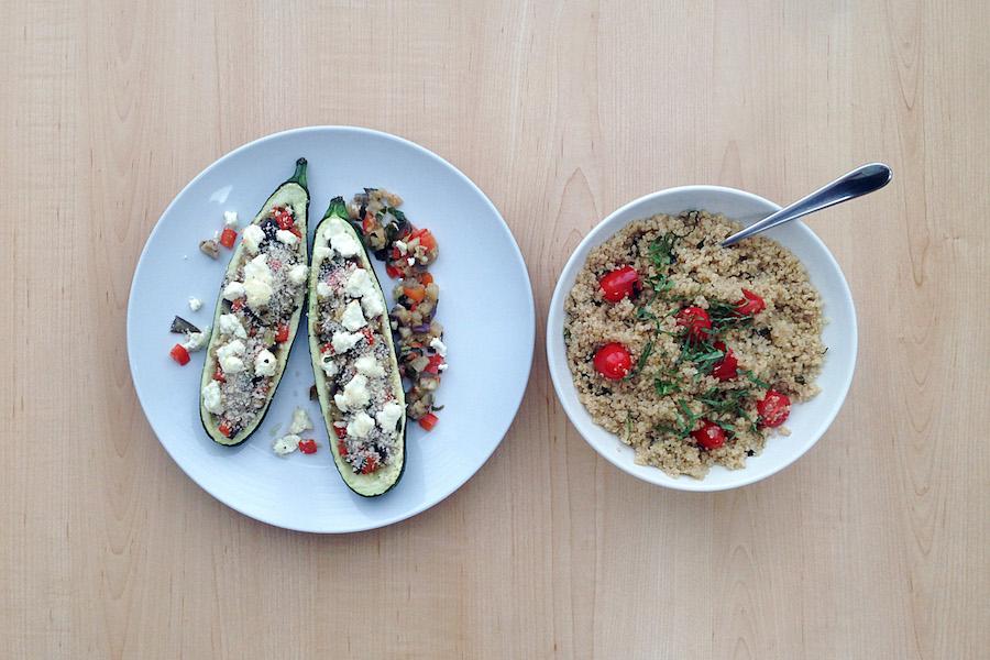 zucchinis farcis la ratatouille avec salade de quinoa. Black Bedroom Furniture Sets. Home Design Ideas