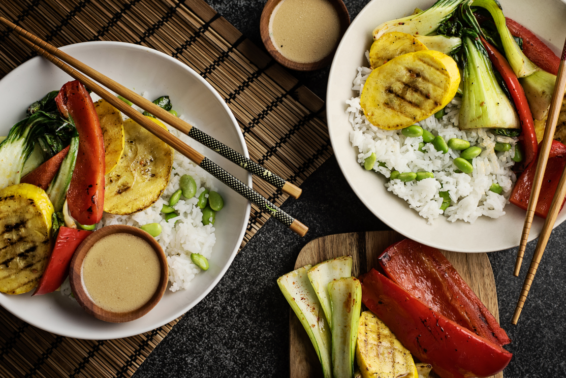 Grilled Vegetable Bowls with Ginger-Soy Sauce
