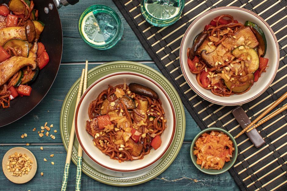 Korean-Spiced Kimchi & Sweet Potato 'Noodle' Stir-Fry