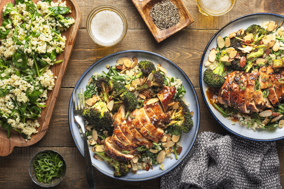 Apricot-Glazed Chicken Breasts with Roasted Broccoli Amandine