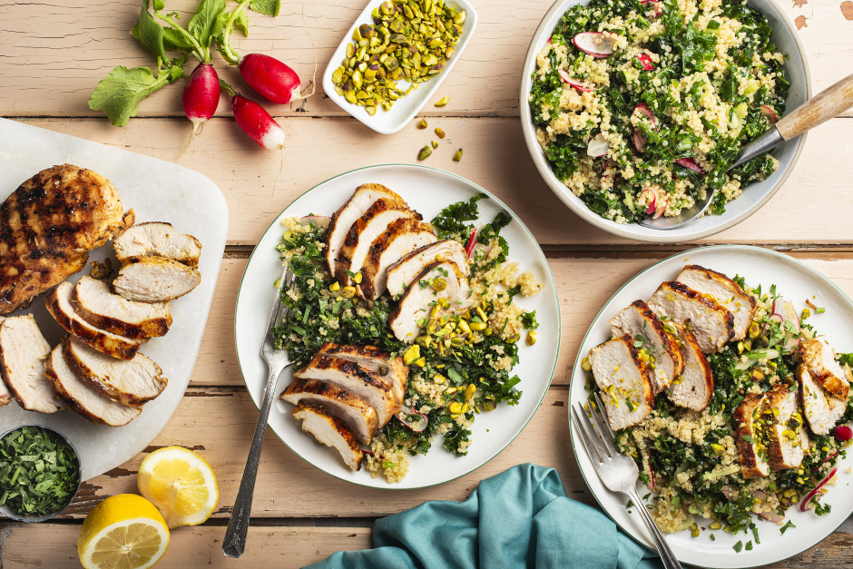Grilled Lemon Chicken over Kale, Quinoa & Pistachio Salad