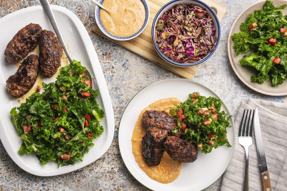 Beef Kefta over Sweet Pepper Hummus