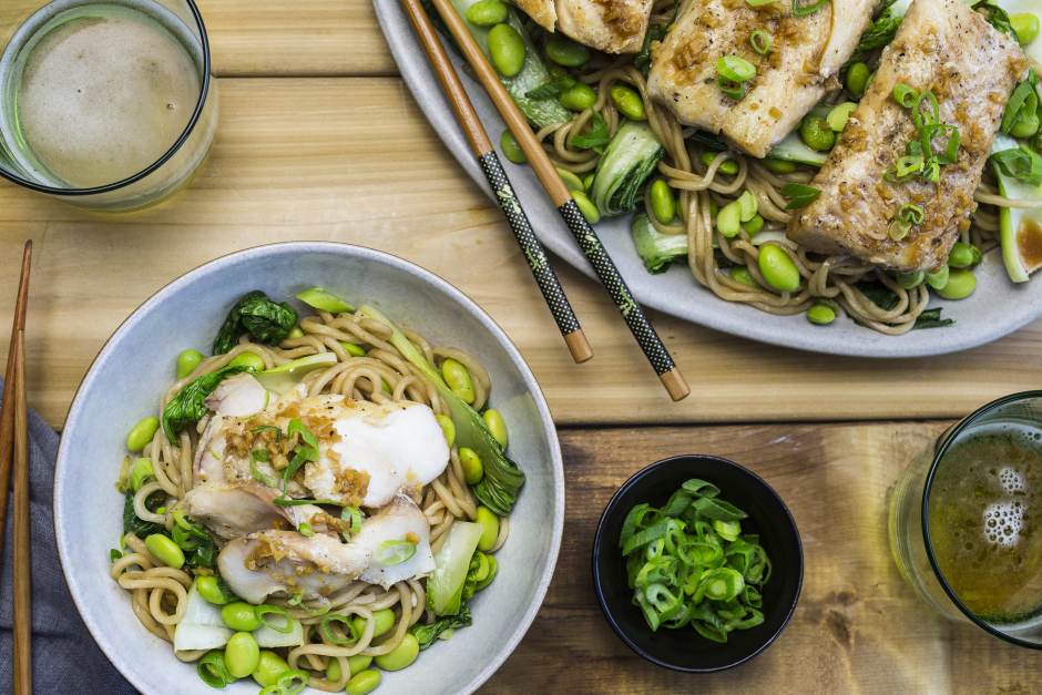 Ginger-Scallion Cod with Fresh Shanghai Noodles