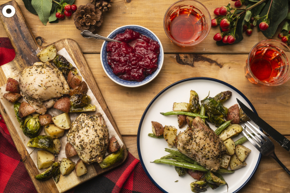 Sheet Pan Chicken with Maple-Cranberry Sauce