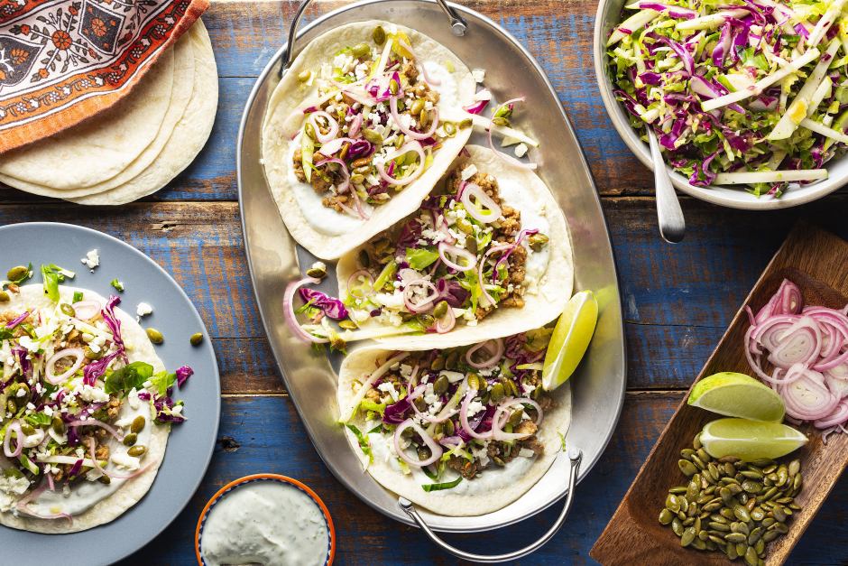 Turkey Tacos with Queso Cotija & Pickled Shallots