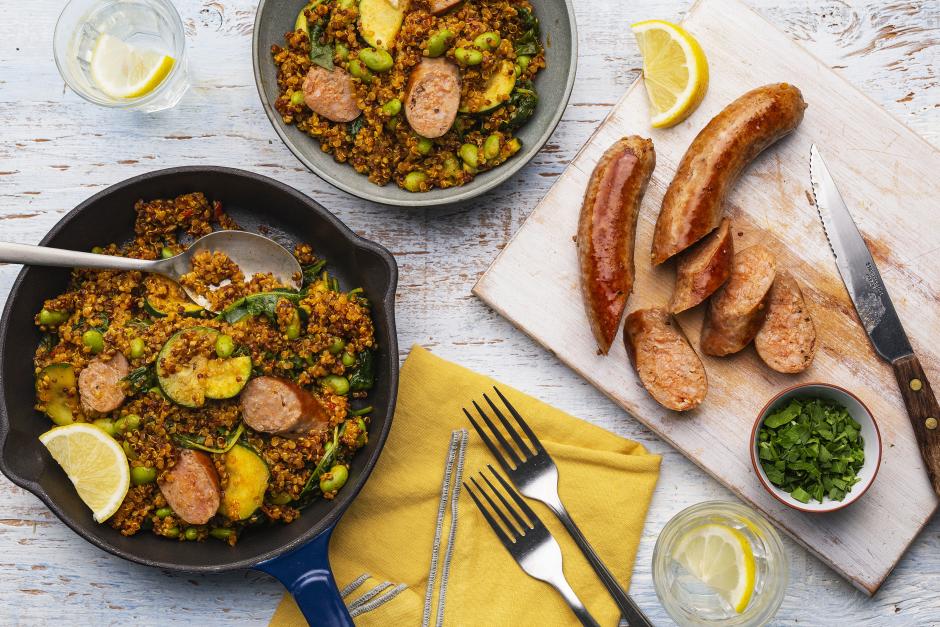 Grilled Sausage-Quinoa Paella