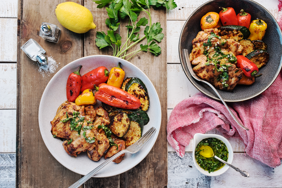 Spanish Chicken Thighs with Lemon-Parsley Pesto