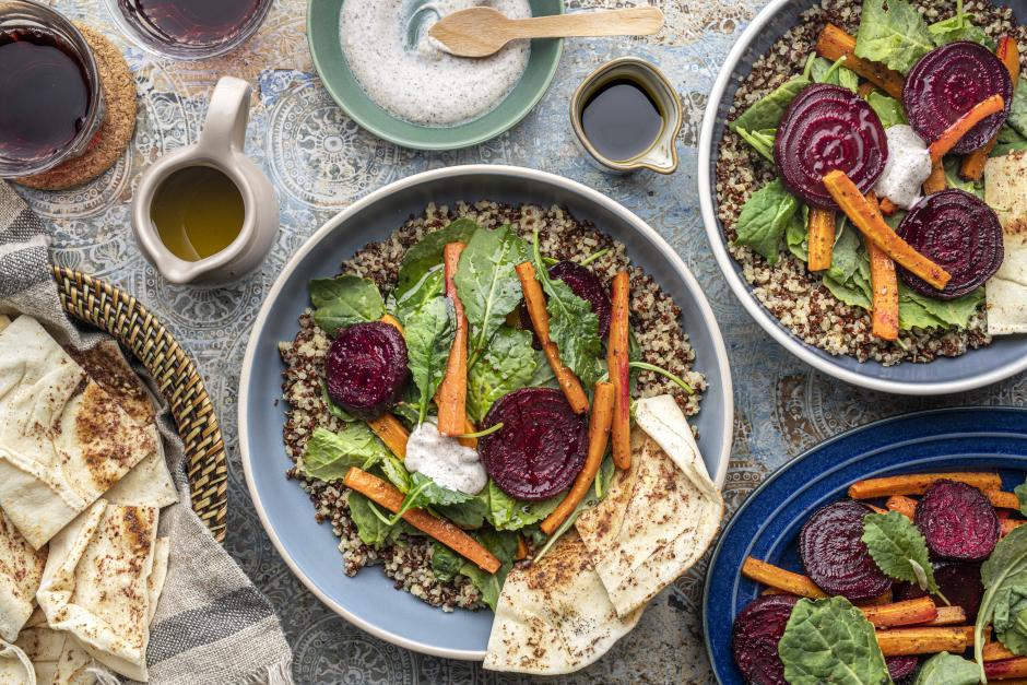 Autumn Roasted Beet & Carrot Quinoa Bowls