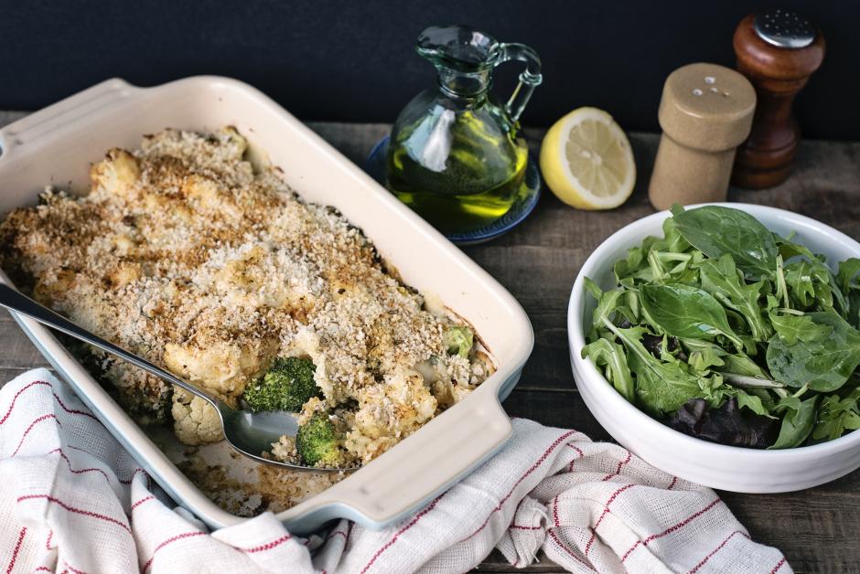 Roasted Cauliflower-Broccoli Gratin