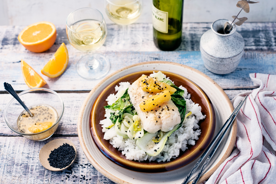 Seared Cod with Orange-Miso Dressing