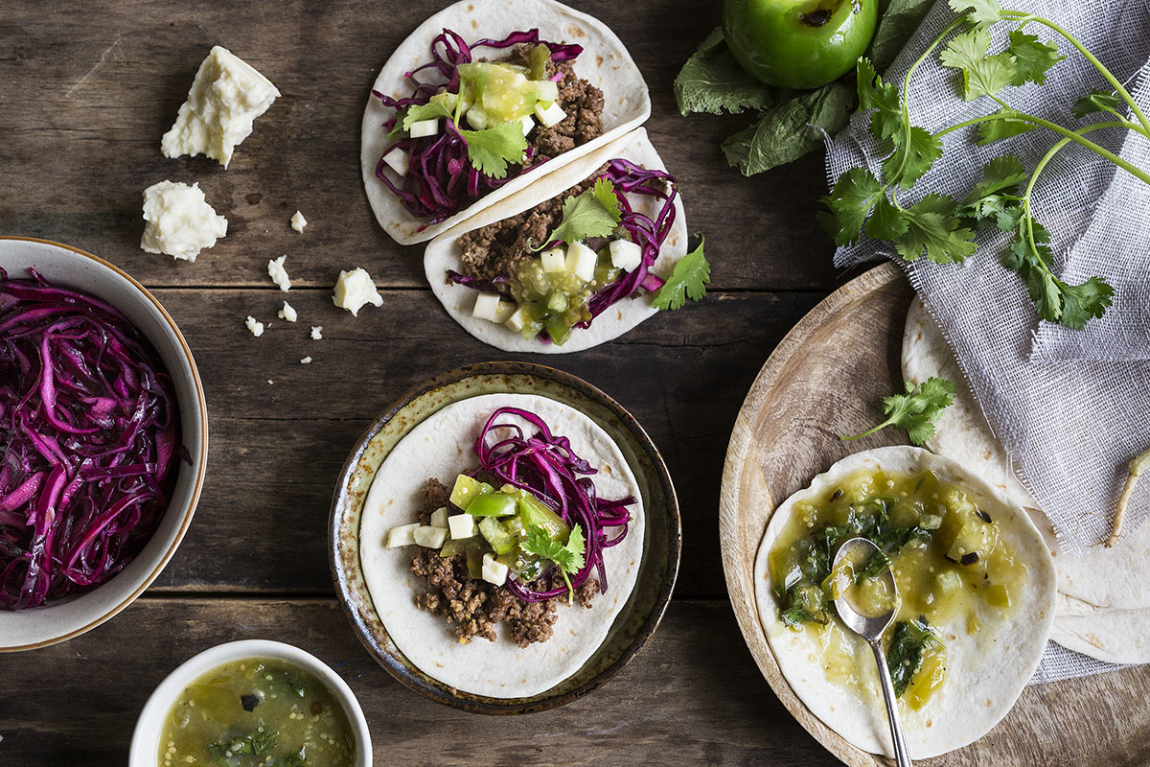 Ground Beef Tacos with Homemade Salsa Verde