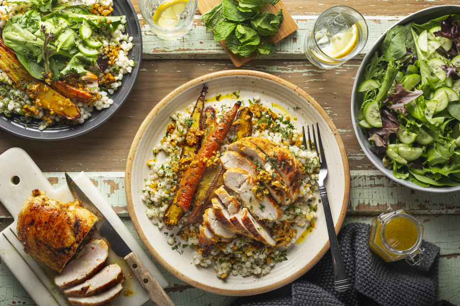 Garlic & Ginger Turmeric-Rubbed Chicken with Roasted Carrots