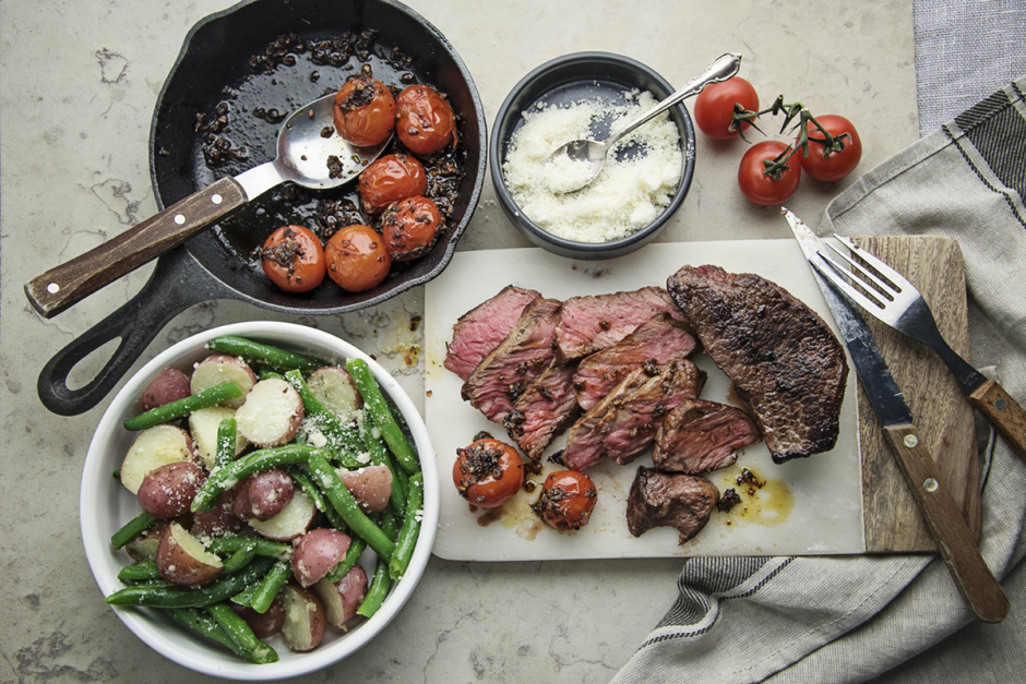 Steaks with Blistered Cherry Tomatoes