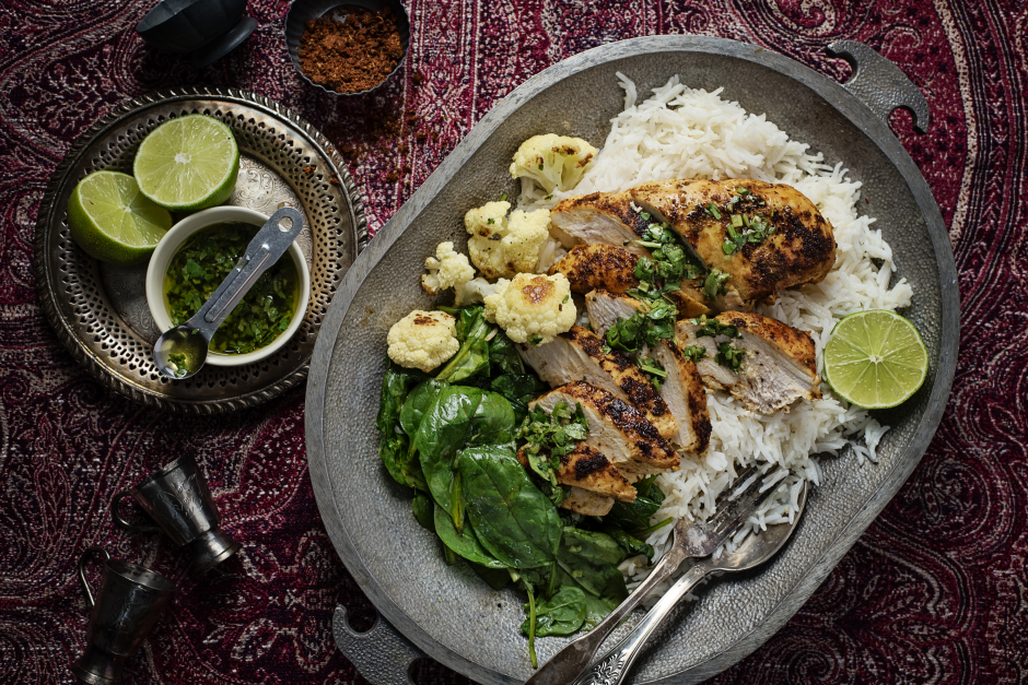 Tandoori-Rubbed Chicken with Wilted Spinach & Rice
