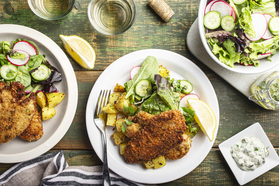 Crunchy Chicken Schnitzel with Lemon-Caper Mayonnaise