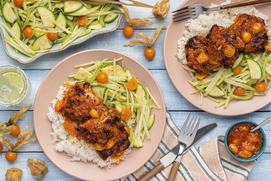 Huli-Huli Chicken with Ground Cherry Glaze