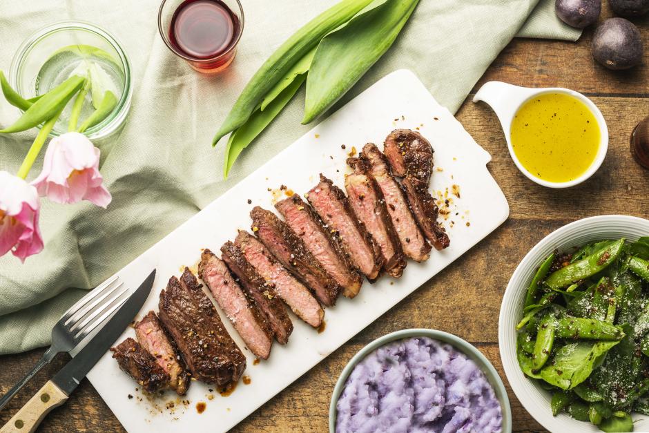 New York Strip Steak with Sugar Snap Pea Salad