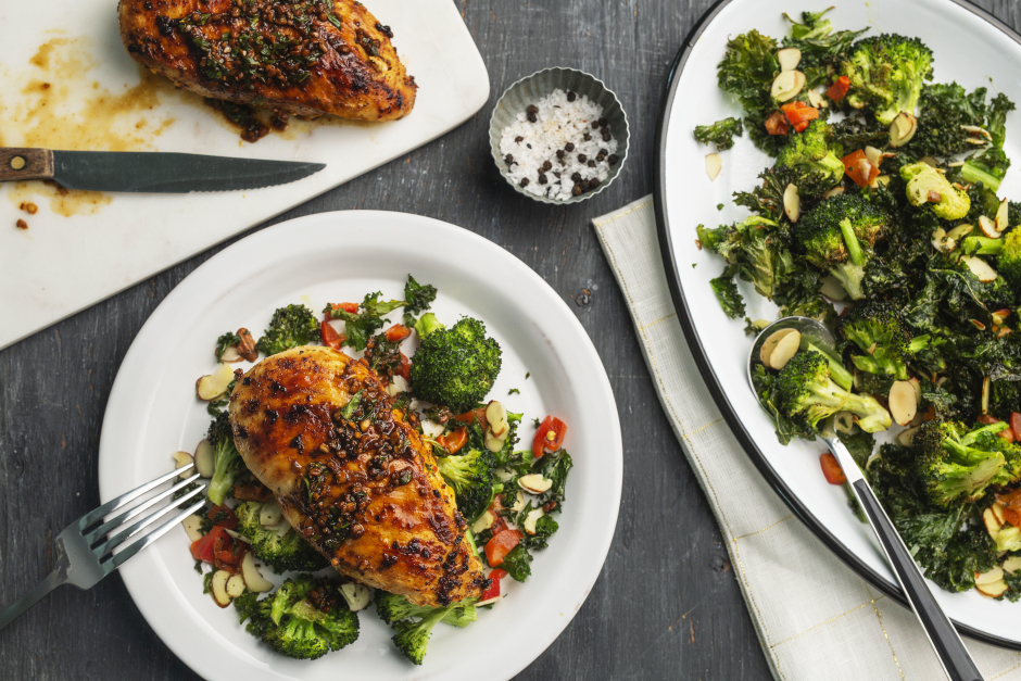 Sicilian Chicken with Roasted Broccoli & Kale