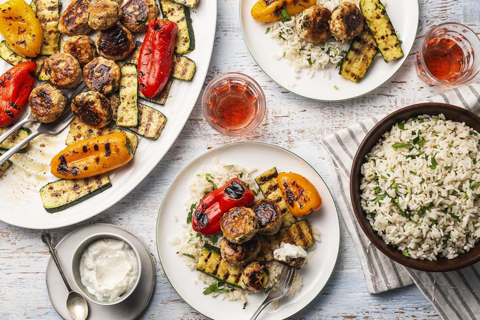 Greek Turkey Meatballs with Grilled Vegetables
