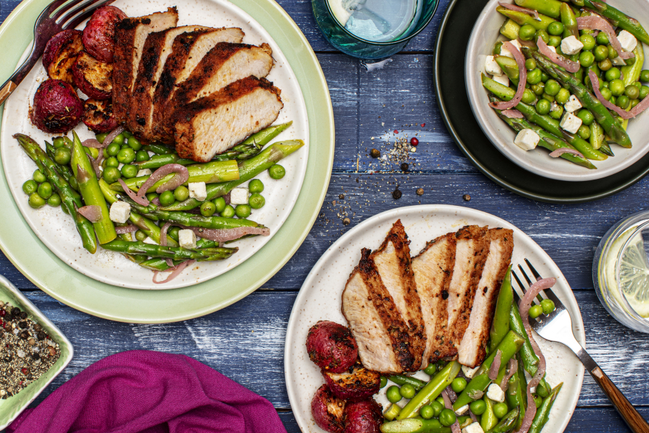 Pan-Seared Pork Chops with Roasted Radishes